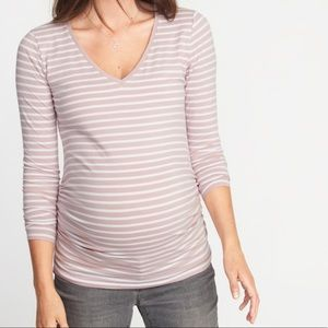 Old Navy Orchid Striped V Neck Maternity Tee Top M